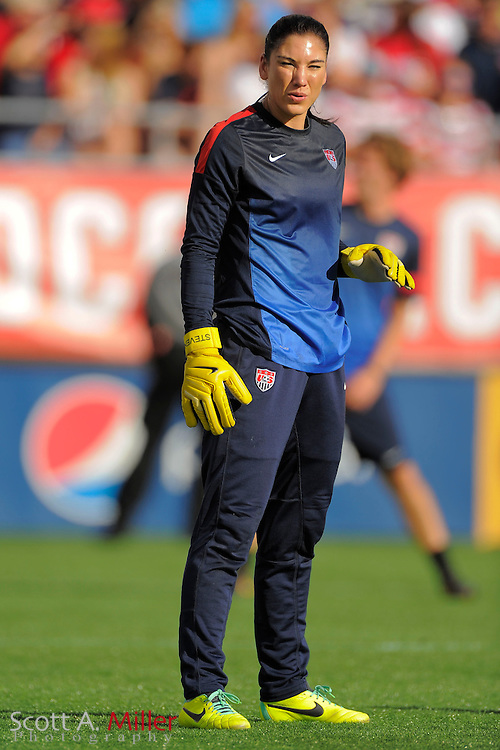 U.S. goalkeeper Hope Solo (1) prior to an international friendly against Brazil at the Florida Citrus Bowl on Nov. 10, 2013 in Orlando, Florida. The U.S. won 4-1.<br /> <br /> <br /> &copy;2013 Scott A. Miller
