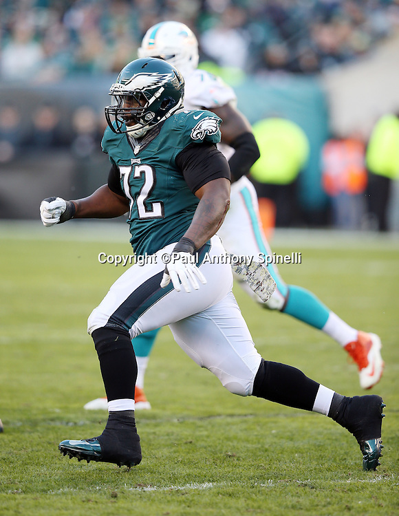 Philadelphia Eagles defensive end Cedric Thornton (72) chases the action during the 2015 week 10 regular season NFL football game against the Miami Dolphins on Sunday, Nov. 15, 2015 in Philadelphia. The Dolphins won the game 20-19. (©Paul Anthony Spinelli)