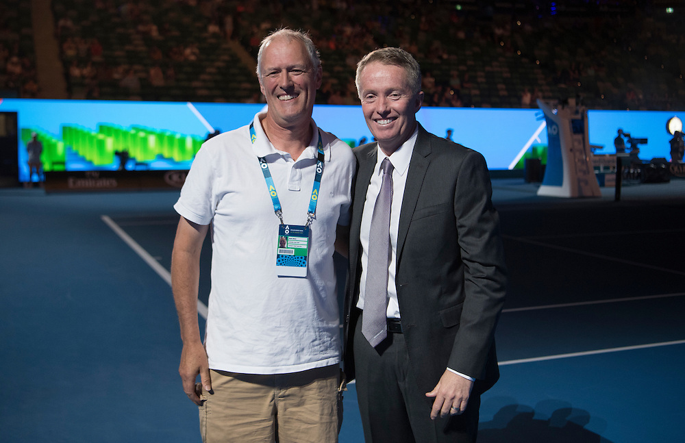 Craig Tiley and service awards at Rod Laver Arena on day two of the 2017 Australian Open at Melbourne Park on January 17, 2017 in Melbourne, Australia.<br /> (Ben Solomon/Tennis Australia)