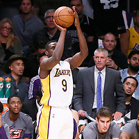 06 November 2016: Los Angeles Lakers forward Luol Deng (9) takes a jump shot during the LA Lakers 119-108 victory over the Phoenix Suns, at the Staples Center, Los Angeles, California, USA.