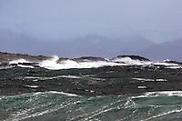 Bilder fra en stormfull dag p&aring; Alnes p&aring; God&oslash;ya i Giske kommune.<br /> <br /> Large waves is hitting the coastline next to Alnes lighthouse in Giske during a storm in january 2007.<br /> <br /> Foto: Svein Ove Ekornesv&aring;g