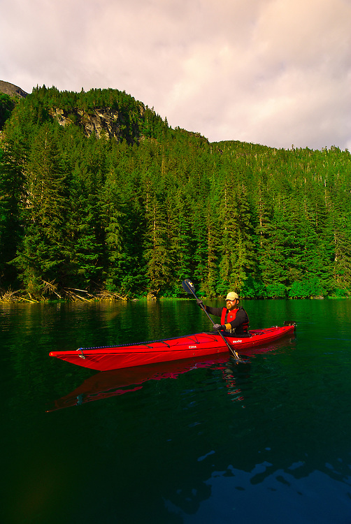 Sea kayaking in Red Bluff Bay, Inside Passage, Southeast Alaska