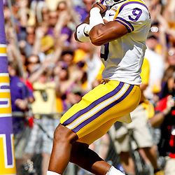 Oct 2, 2010; Baton Rouge, LA, USA; LSU Tigers quarterback Jordan Jefferson (9) celebrates after scoring a touchdown against the Tennessee Volunteers during the first half at Tiger Stadium.  Mandatory Credit: Derick E. Hingle