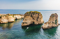 Rouche Rocks  in Beirut capital city of Lebanon Middle east
