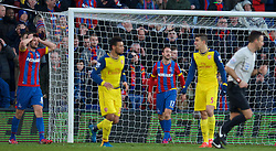 LONDON, ENGLAND - Saturday, February 21, 2015: Crystal Palace's Glenn Murray looks dejected after seeing his injury time header hit the Arsenal post during the Premier League match at Selhurst Park. (Pic by David Rawcliffe/Propaganda)