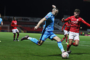 Chris Hussey and Ellis Iandolo   during the The FA Cup match between Swindon Town and Cheltenham Town at the County Ground, Swindon, England on 19 November 2019.