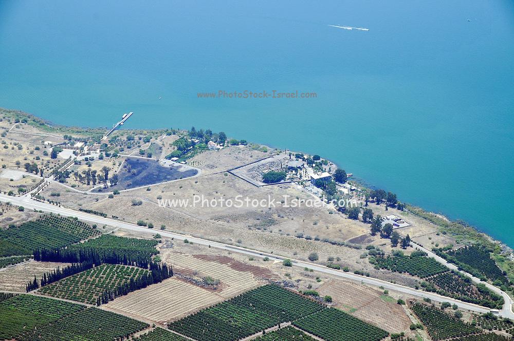Aerial view of Capernaum on the Sea Of Galilee, Israel