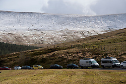 © Licensed to London News Pictures. 01/03/2020. Brecon Beacons National Park, Powys, Wales, UK  On the first day of meteorological spring, the summits of the Brecon Beacons National Park are covered with snow from Storm Jorge which hit Wales yesterday.Photo credit: Graham M. Lawrence/LNP