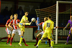 STOCKPORTS DAN COWAN  TRIES A SHOT ON BRACCKLEYS GOAL, Brackley Town v Stockport County, Buildbase FA Trophy 4th Round Replay, Tuesday 6th March 2018 Score 2-1 <br /> Photo:Mike Capps