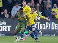FODBOLD: Mohammed Kudus (FC Nordsjælland) og Simon Hedlund (Brøndby IF) under kampen i Superligaen mellem Brøndby IF og FC Nordsjælland den 13. maj 2019 på Brøndby Stadion. Foto: Claus Birch.