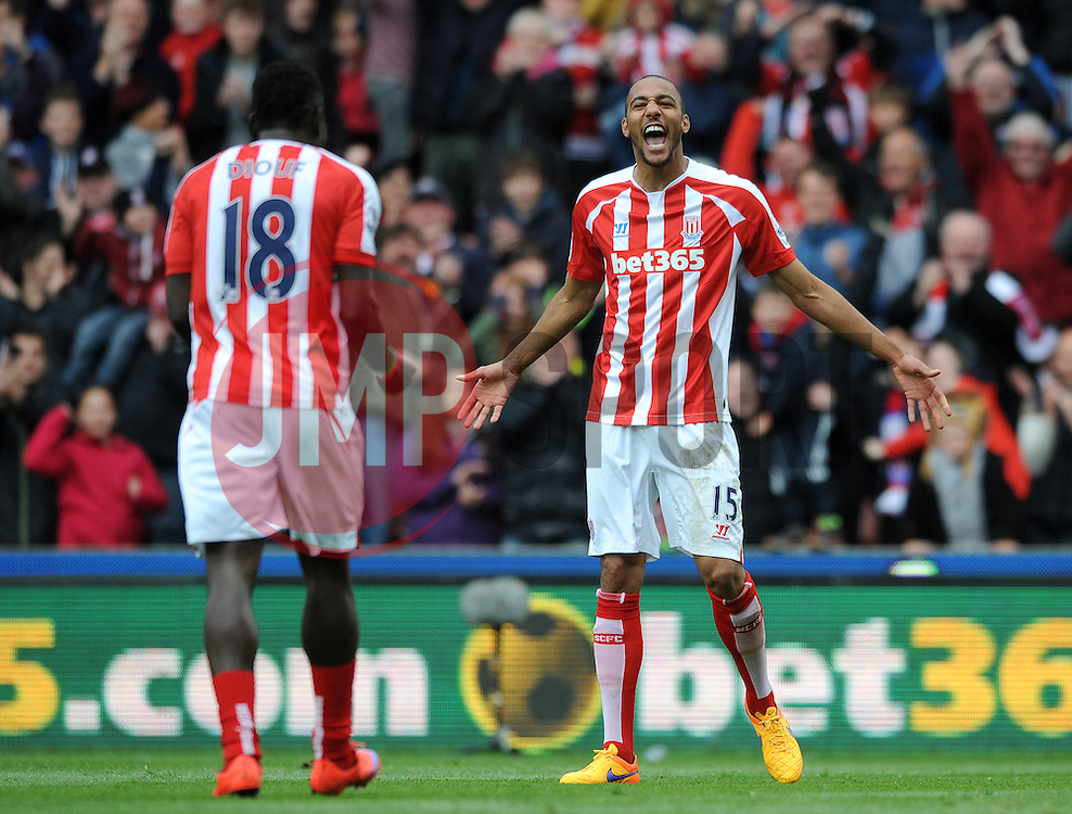 Stoke City's Steven N'Zonzi celebrates his goal with Stoke City's Mame Biram Diouf - Photo mandatory by-line: Dougie Allward/JMP - Mobile: 07966 386802 - 09/05/2015 - SPORT - Football - Stoke - Britannia Stadium<br />  - Stoke v Tottenham Hotspur - Barclays Premier League