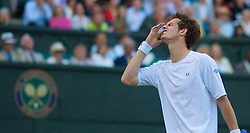 LONDON, ENGLAND - Monday, June 30, 2008: Andy Murray (GBR) during his marathon men's singles fourth round victory on day seven of the Wimbledon Lawn Tennis Championships at the All England Lawn Tennis and Croquet Club. (Photo by David Rawcliffe/Propaganda)