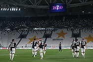 Juventus's Portuguese striker Cristiano Ronaldo celebrates with team mates after scoring from the penalty mark to give the side a 2-0 lead during the Serie A match at Allianz Stadium, Turin. Picture date: 26th June 2020. Picture credit should read: Jonathan Moscrop/Sportimage