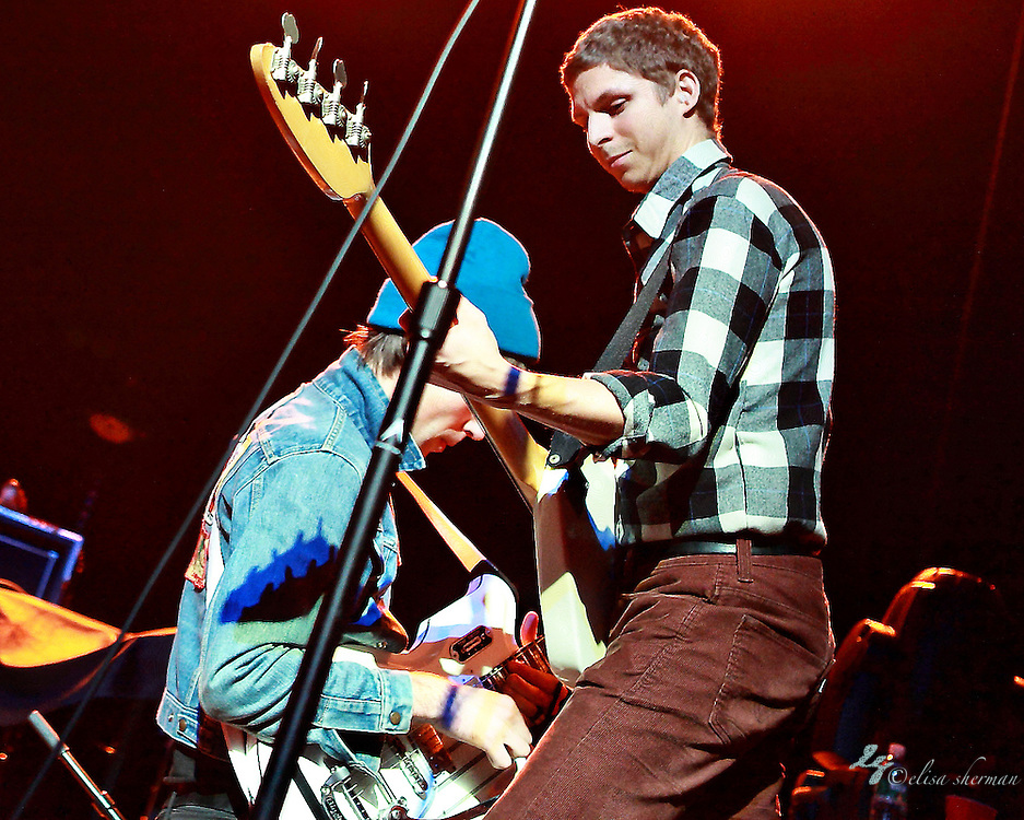 Michael Cera (right) guests at bass performing with Mister Heavenly on November 30, 2010 opening for Passion Pit at the Moore Theatre in Seattle, Washington