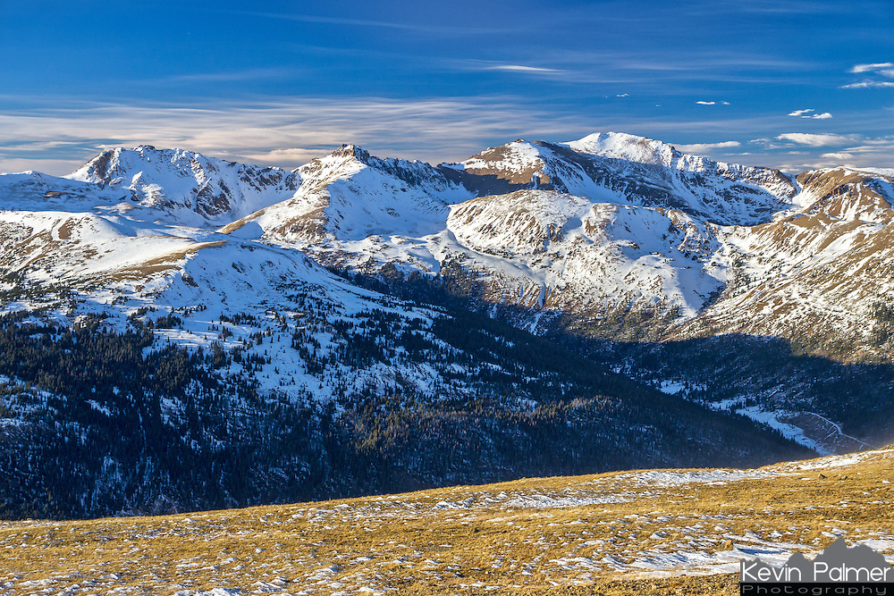 This view of the Rocky Mountains is from the 12,000 feet high Loveland Pass. Hidden in the valley below is Interstate 70, where it crosses the Continental Divide at Eisenhower Tunnel.<br /> <br /> Date Taken: 11/8/2013