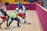 Graz, Austria - 2017 March 17: SO Poland compete with SO Algeria in Floor Hockey while Special Olympics World Winter Games Austria 2017 at Messe Graz on March 17, 2017 in Graz, Austria.<br /> <br /> Mandatory credit:<br /> Photo by © Adam Nurkiewicz / Mediasport<br /> <br /> Adam Nurkiewicz declares that he has no rights to the image of people at the photographs of his authorship.<br /> <br /> Picture also available in RAW (NEF) or TIFF format on special request.<br /> <br /> Any editorial, commercial or promotional use requires written permission from the author of image.<br /> <br /> Image can be used in the press when the method of use and the signature does not hurt people on the picture.