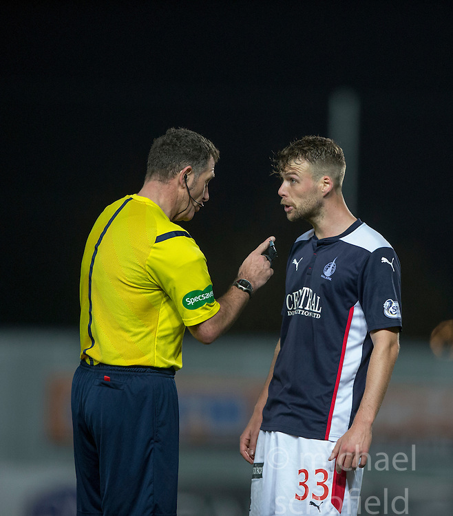 Ref John McKendrick has words with Falkirk's Rory Loy. <br /> Falkirk 1 v 0 Cowdenbeath, William Hill Scottish Cup game played 29/11/2014 at The Falkirk Stadium.