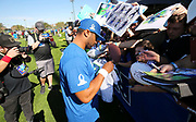 Jan 24, 2018; Kissimmee, FL, USA; Seattle Seahawks quarterback Russell Wilson (3) signs autographs for fans after practice for the 2018 Pro Bowl at ESPN Wide World of Sports Complex. (Steve Jacobson/Image of Sport)