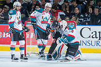 KELOWNA, CANADA - APRIL 30: Rodney Southam #17 and Lucas Johansen #7 stand at the net of Michael Herringer #30 of the Kelowna Rockets against the Seattle Thunderbirds on April 30, 2017 at Prospera Place in Kelowna, British Columbia, Canada.  (Photo by Marissa Baecker/Shoot the Breeze)  *** Local Caption ***