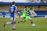 Forest Green Rovers Fabien Robert(26) crosses the ball during the FA Trophy 2nd round match between Chester FC and Forest Green Rovers at the Deva Stadium, Chester, United Kingdom on 14 January 2017. Photo by Shane Healey.