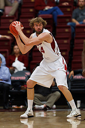 Nov 15, 2011; Stanford CA, USA;  Stanford Cardinal forward Andrew Zimmermann (34) grabs a rebound against the Colorado State Rams during the first half of a preseason NIT game at Maples Pavilion. Mandatory Credit: Jason O. Watson-US PRESSWIRE