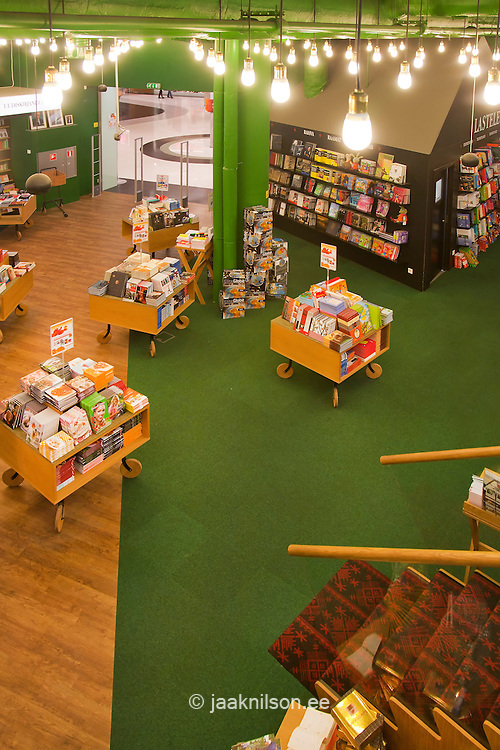 modern display tables in  bookstore