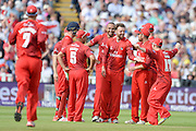 Lancashire celebrates during the NatWest T20 Blast Semi Final match between Hampshire County Cricket Club and Lancashire County Cricket Club at Edgbaston, Birmingham, United Kingdom on 29 August 2015. Photo by David Vokes.