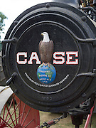 Front view of the J.I. Case eagle on an antique steam tractor; Rock River Thresheree, Edgerton, Wisconsin; 2 Sept 2013