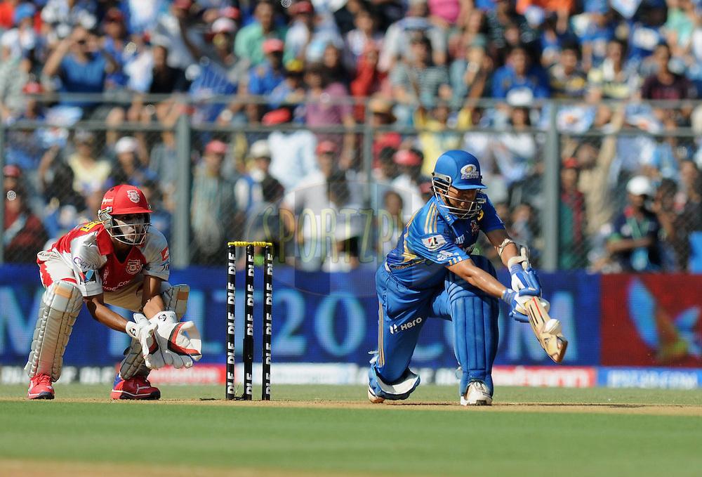 Sachin Tendulkar of Mumbai Indians bats during match 28 of the Indian Premier League ( IPL) 2012  between The Mumbai Indians and the Kings X1 Punjab held at the Wankhede Stadium in Mumbai on the 22nd April 2012..Photo by Pal Pillai/IPL/SPORTZPICS.