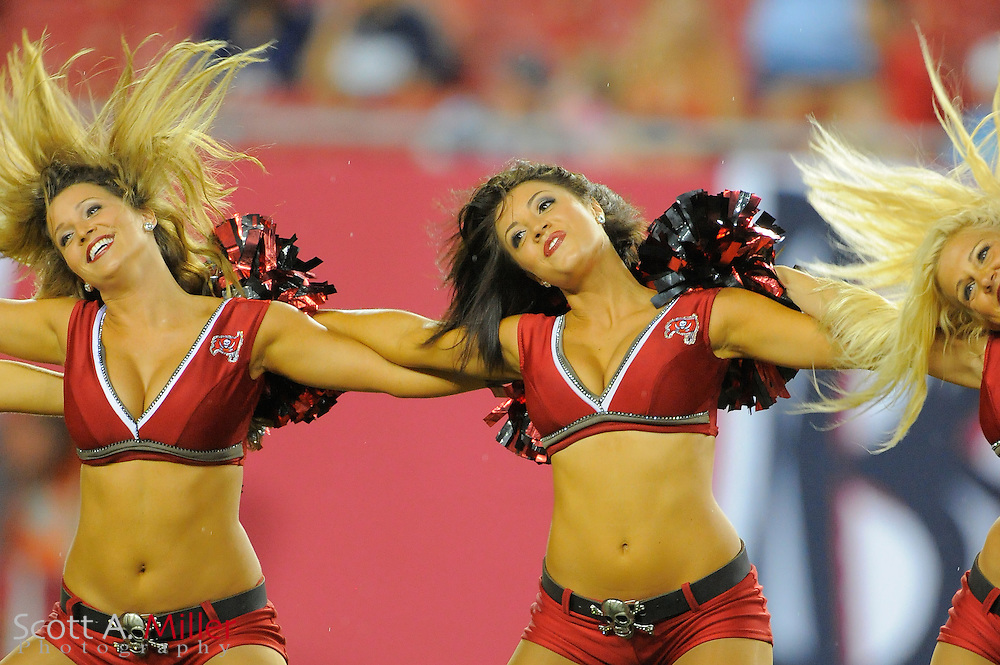 Tampa Bay Buccaneers cheerleader preform during the Bucs game against the New England Patriots at Raymond James Stadium on Aug. 18, 2011 in Tampa, Fla...SPECIAL TO FOXSPORTS.COM/SCOTT A. MILLER