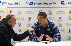Bristol Rugby Head Coach Pat Lam talks to Mark Hoskins after defeating Cornish Pirates - Mandatory by-line: Paul Knight/JMP - 22/12/2017 - RUGBY - Ashton Gate Stadium - Bristol, England - Bristol Rugby v Cornish Pirates - Greene King IPA Championship