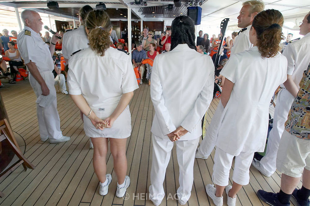 Crew introduction by Captain Klaus aboard Royal Clipper.