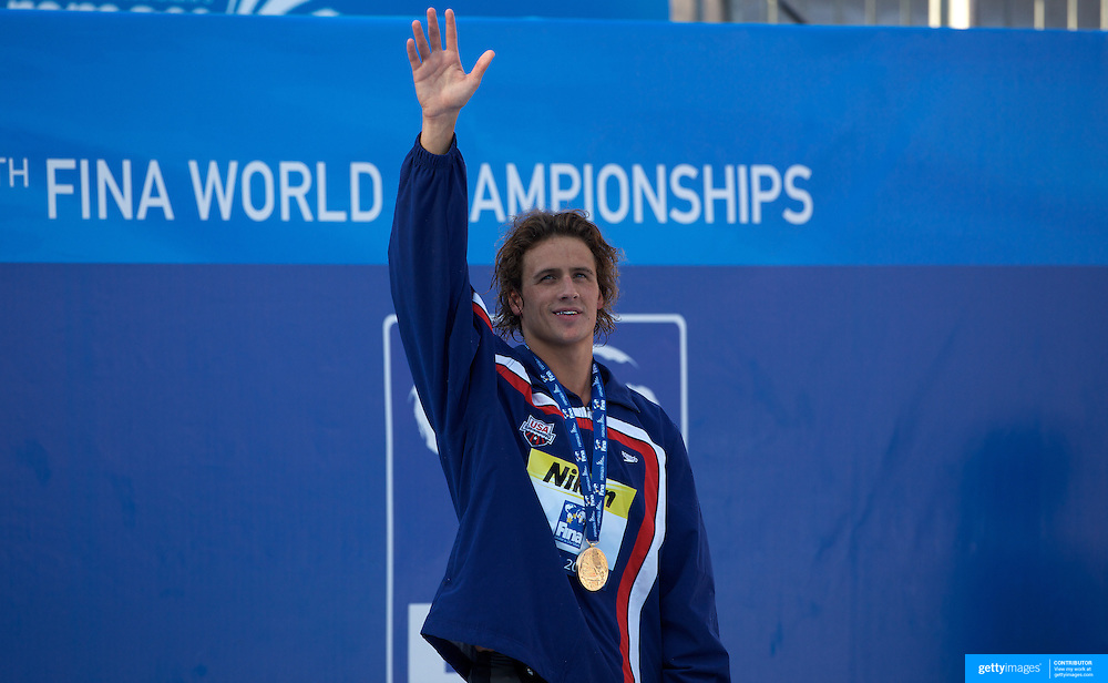 Ryan Lochte, USA, Gold medal winner of the Men's 200m IM at World Swimming Championships in Rome on Thursday, July 30, 2009. Photo Tim Clayton.