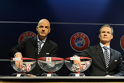 10.08.2012, UEFA Zentrale, Nyon, SUI, UEFA Europa League Auslosung, im Bild Giani Infantino (L), General-Sekretaer UEFA und Giorgio Marchetti (R) UEFA Direktor fuer Berufsfussball waehrend der Auslosungszeremonie UEFA Europa League 2012/2013 // during UEFA Europa League Draw at the UEFA Headquater, Nyon, Switzerland on 2012/08/10. EXPA Pictures © 2012, PhotoCredit: EXPA/ Freshfocus/ Urs Lindt..***** ATTENTION - for AUT, SLO, CRO, SRB, BIH only *****
