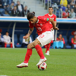 July 3, 2018 - Russia - July 03, 2018, St. Petersburg, FIFA World Cup 2018 Football, the playoff round. Football match of Sweden - Switzerland at the stadium of St. Petersburg. Player of the national team Ricardo Rodriguez. (Credit Image: © Russian Look via ZUMA Wire)