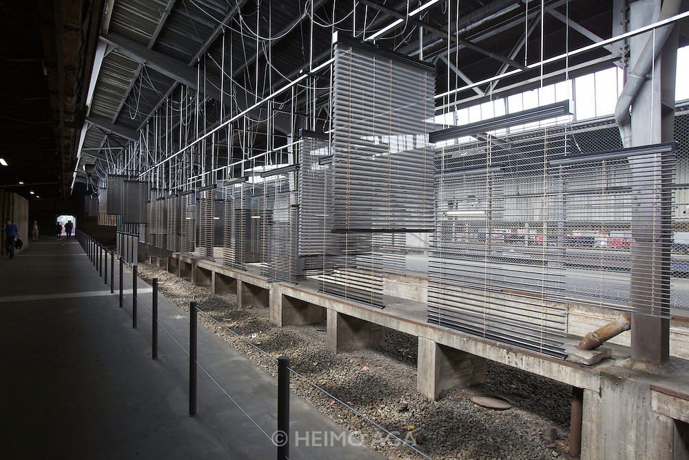 "dOCUMENTA (13) in Kassel, Germany..Hauptbahnhof (Main Railway Station)..Haegue Yang, ""Approaching: Choreography Engineered in Never-Past Tense"", 2012."