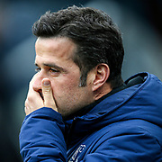 Everton manager Marco Silva during the Premier League match between Newcastle United and Everton at St. James's Park, Newcastle, England on 9 March 2019.
