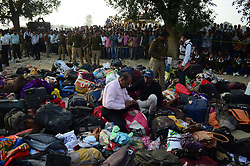 November 20, 2016 - Pukhrayan, Kanpur, India - A police man collects the goods  near of derailed Indore Patna Express train, in Pukhrayan village, some 60 kms from Kanpur, on November 20,2016. More than 150 people died in Accident, According to officials. (Credit Image: © Ritesh Shukla/NurPhoto via ZUMA Press)