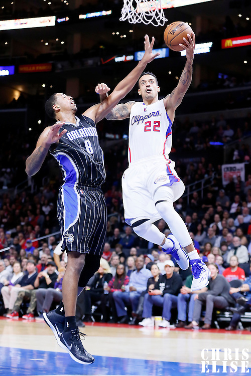 03 December 2014: Los Angeles Clippers forward Matt Barnes (22) drives past Orlando Magic forward Channing Frye (8) during the Los Angeles Clippers 114-86 victory over the Orlando Magic, at the Staples Center, Los Angeles, California, USA.