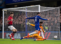 Football - 2018 / 2019 Emirates FA Cup - Fifth Round: Chelsea vs. Manchester United <br /> <br /> Sergio Romero (Manchester United) spreads himself to block the shot from Gonzalo Higuain (Chelsea FC) at Stamford Bridge<br /> <br /> COLORSPORT/DANIEL BEARHAM