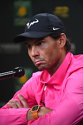 Rafael Nadal (ESP) during his press conference after he has to withdraw from his semi final round match against Roger Federer (SUI) at the 2018 Indian Wells Masters 1000 at Indian Wells Tennis Garden, California, USA, on March, 16, 2019. Photo by Corinne Dubreuil/ABACAPRESS.COM