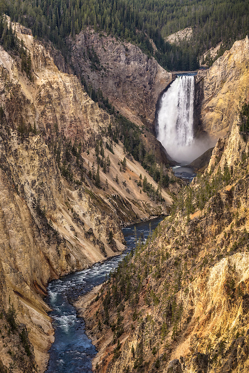 Lower Falls of the Yellowstone River and the Grand Canyon of the Yellowstone from Artist Point; Yellowstone National Park, Wyoming.