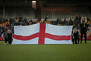 The English flag on the pitch before the Women's International Friendly match between England Ladies and Italy Women at Vale Park, Burslem, England on 7 April 2017. Photo by Mark P Doherty.