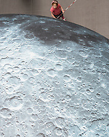 17/07/2018 repro free:    Sadie Leonard  at Luke Jerram&rsquo;s Museum of the Moon measuring seven metres in diameter and featuring 120dpi detailed NASA imagery of the lunar surface pictured in  Human Biology Building, NUI Galway as part of Galway International Arts Festival. Museum of the Moon is a new touring artwork by UK artist Luke Jerram who is known worldwide for his large scale public artworks.  The installation is a fusion of lunar imagery, moonlight and surround sound composition created by BAFTA and Ivor Novello award winning composer Dan Jones. GIAF runs from 16 &ndash; 29 July www.giaf.ie<br />   .Photo:Andrew Downes, XPOSURE