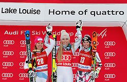 05.12.2015, East Summit Course, Lake Luise, CAN, FIS Weltcup Ski Alpin, Lake Luise, Damen, Abfahrt, Rennen, im Bild v.l. Fabienne Suter (SUI, 2. Platz), Lindsey Vonn (USA, 1. Platz), Cornelia Huetter (AUT, 3. Platz) // 2nd placed Fabienne Suter of Switzerland ( L ), winner Lindsey Vonn of the USA ( C ) and 3rd placed Cornelia Huetter of Austria during the race of ladies downhill of the Lake Luise FIS Ski Alpine World Cup at the East Summit Course in Lake Luise, Canada on 2015/12/05. EXPA Pictures © 2015, PhotoCredit: EXPA/ SM<br /> <br /> *****ATTENTION - OUT of GER*****
