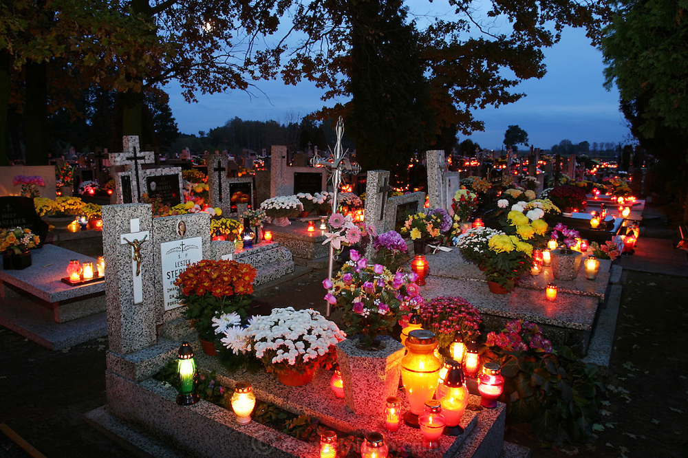 Zadzim Cemetery, Poland. All Saints Day.