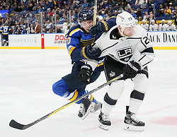 October 30, 2017 - St Louis, MO, USA - St. Louis Blues center Oskar Sundqvist, left, jockeys for position against Los Angeles Kings center Trevor Lewis in the third period during a game between the St. Louis Blues and the Los Angeles Kings on Monday, Oct. 30, 2017, at the Scottrade Center in St. Louis. The Blues won, 4-2. (Credit Image: © Chris Lee/TNS via ZUMA Wire)