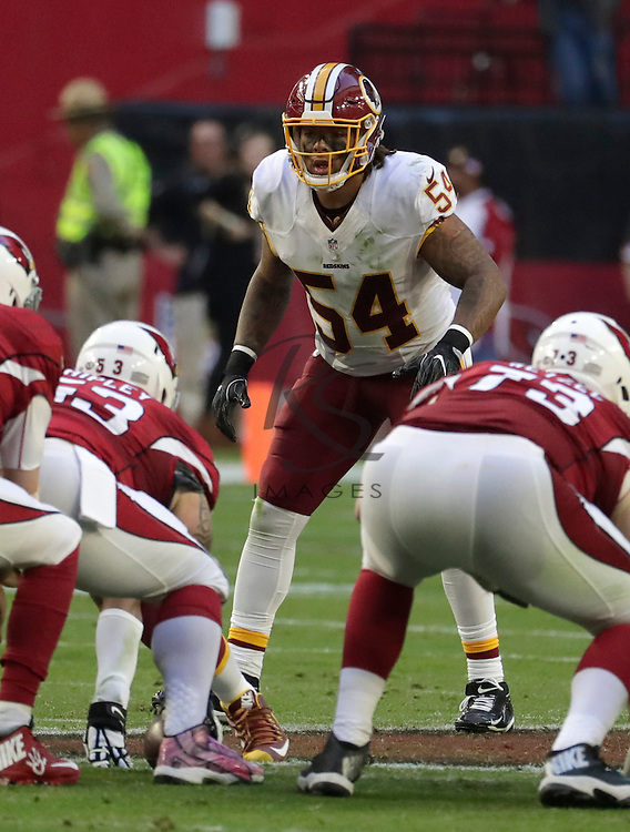 Washington Redskins inside linebacker Mason Foster (54) during an NFL football game against the Arizona Cardinals, Sunday, Dec. 4, 2016, in Glendale, Ariz. (AP Photo/Rick Scuteri)