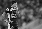 BRISBANE, AUSTRAILA - APRIL 30: Isral folou puts his hand on is face during the round 8 NRL match between Brisbane Broncos and Newcastle Knights at Suncorp Stadium on April 30th, 2010 in Brisbane, Australia. (Photo by Matt Roberts/NIKON/Rugby League Coaching Manuals)