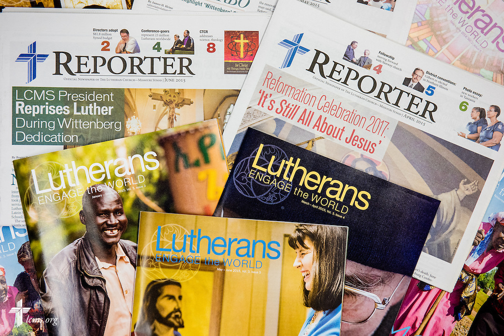 Photograph of Lutherans Engage of the World and Reporter newspaper on Thursday, June 11, 2015, in Kirkwood, Mo. LCMS Communications/Erik M. Lunsford